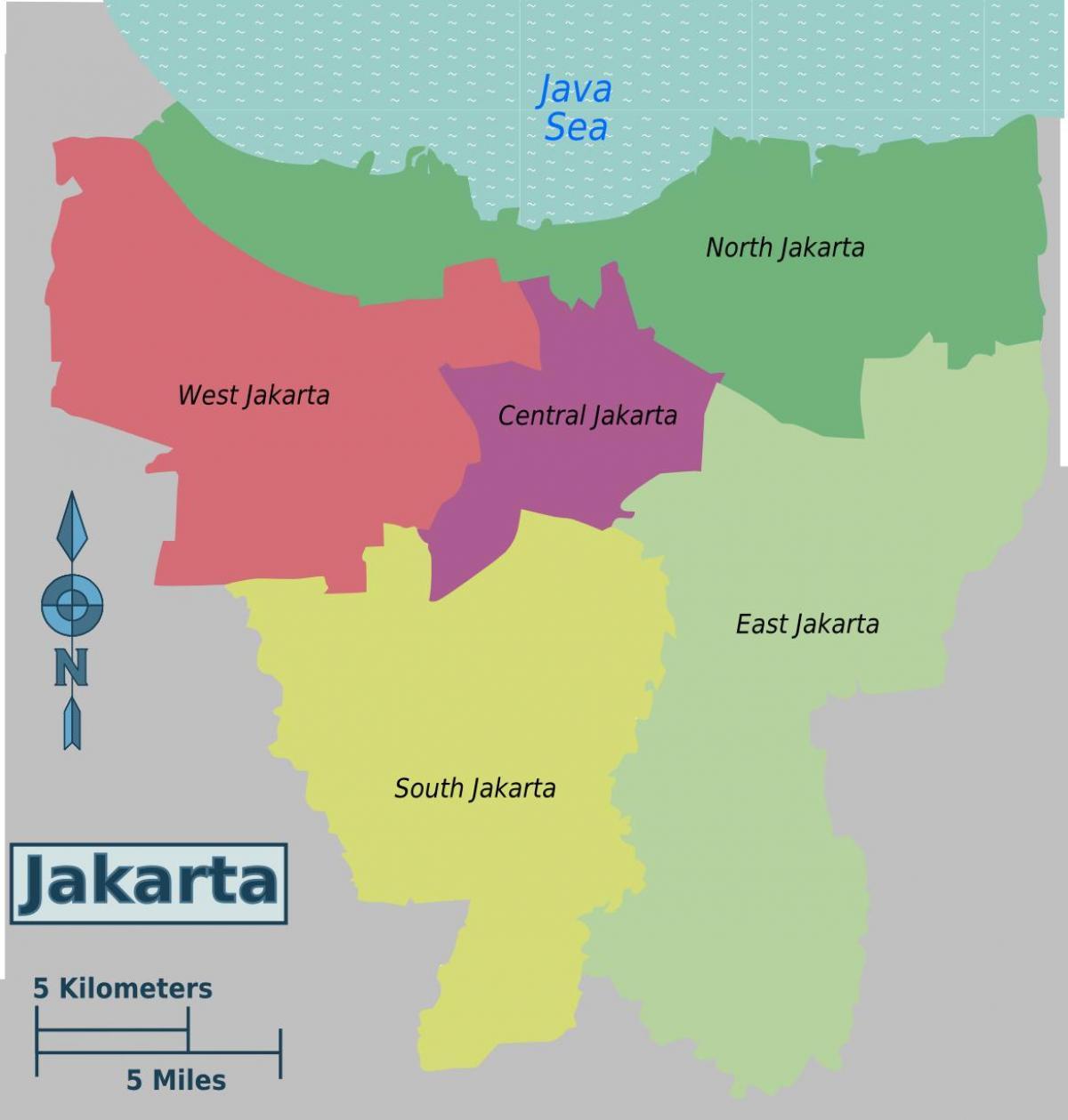 Jakarta Bezirke map - Karte von Jakarta Bezirke (Java ...