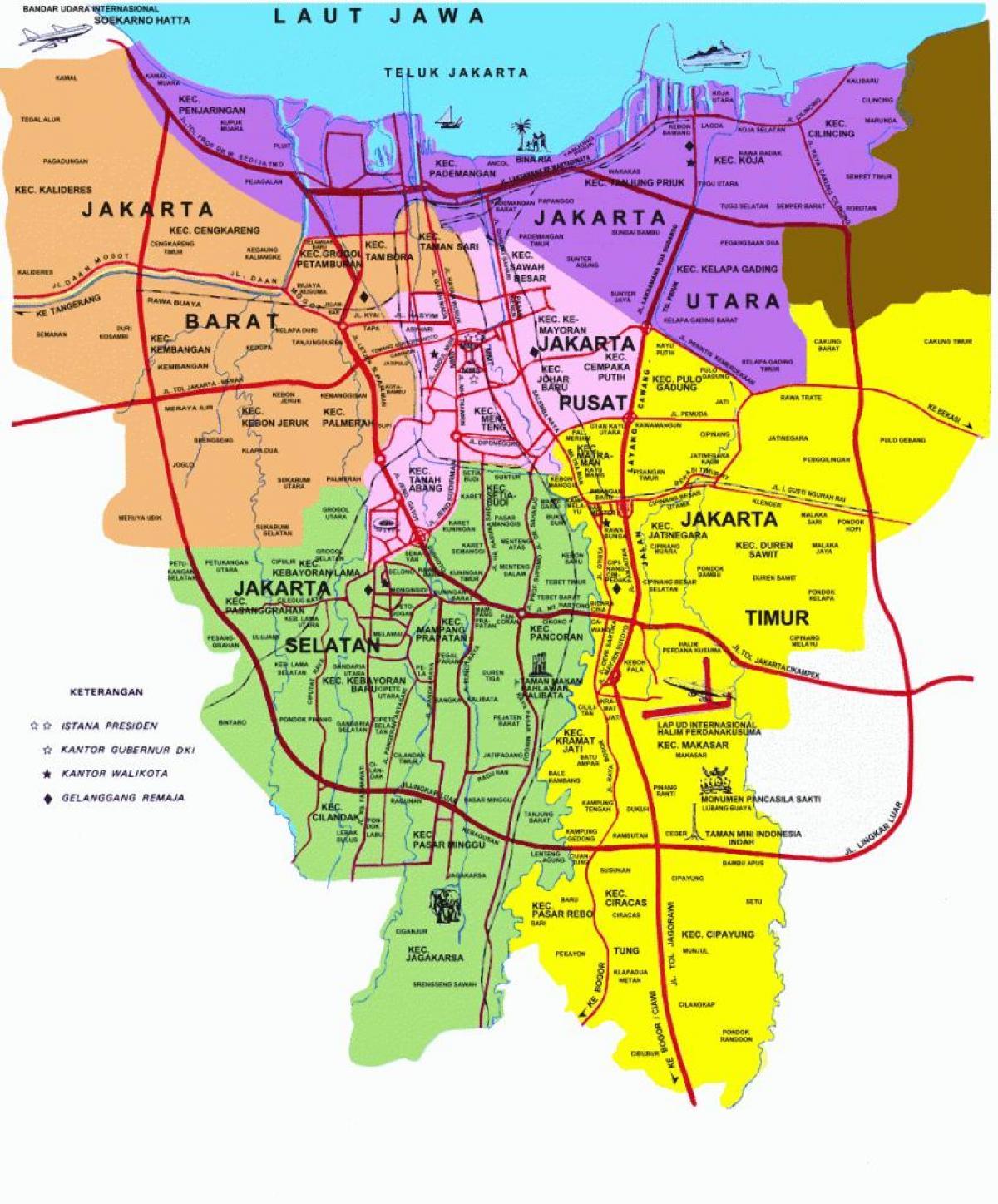 Jakarta tourist map - Jakarta Sehenswürdigkeiten Karte (Java ...